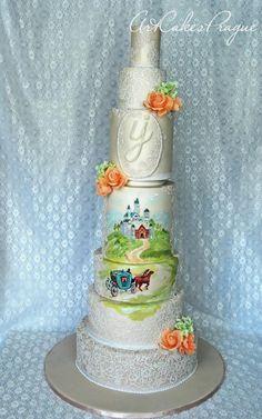 Princess wedding cake fot the luxury wedding in Prague by Art Cakes Prague - http://cakesdecor.com/cakes/248471-princess-wedding-cake-fot-the-luxury-wedding-in-prague