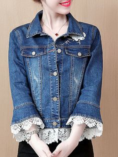 Viqiv Little Girls Button Down Lace Denim Jacket Collarless Coat