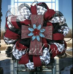 DIY wreaths on Pinterest ~ make one to look like this? ***Chevron Burlap and Burgundy Rustic Cross deco mesh by DzinerDoorz