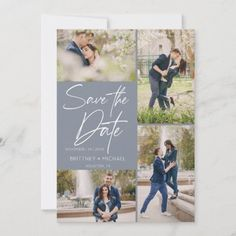 Modern Photo Collage Dusty Blue Save The Date Grey Save The Dates, Save The Date Photos, Wedding Save The Dates, Save The Date Cards, Engagement Party Invitations, Save The Date Invitations, Beautiful Wedding Invitations, Invitation Ideas, Elegant Wedding
