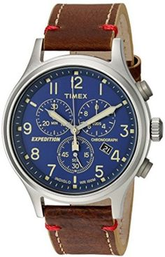 Timex Mens Expedition Scout Chrono Blue Brown Leather Strap Watch Water  #Timex