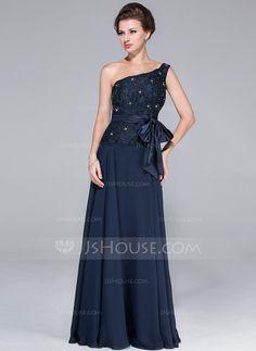 Vestidos para a mãe da noiva - $148.99 - Vestidos princesa/ Formato A Um ombro Longos De chiffon Charmeuse Renda Vestido para a mãe da noiva com Bordado Curvado (017025451) http://jjshouse.com/pt/Vestidos-Princesa-Formato-A-Um-Ombro-Longos-De-Chiffon-Charmeuse-Renda-Vestido-Para-A-Mae-Da-Noiva-Com-Bordado-Curvado-017025451-g25451