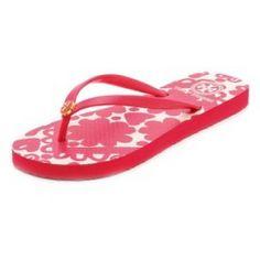 d4cfa5d1aaee Tory Burch Thin Flip Flops - Lava Red Silesa Flower Print - product -  Product
