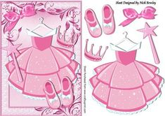 Pink princess party dress with tiara and wand on Craftsuprint - Add To Basket!