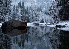 Zima, Góry, Las, Rzeka, Kamień