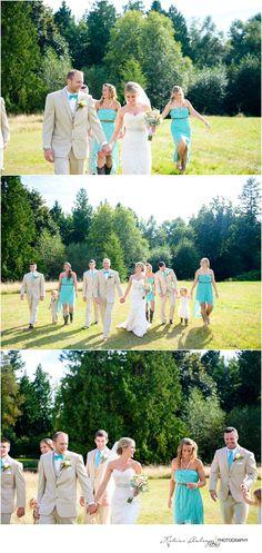 Mr. and Mrs. Knox { Tazer Valley Farm Wedding Photographer } » kamburgeyphotography.com Bridal party, wedding, poses, cowboy boots, rustic, teal, burlap, lace dress
