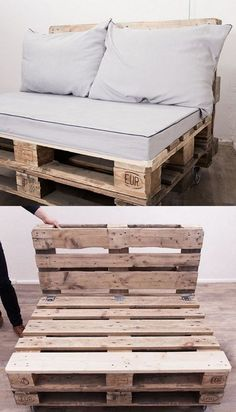 pallet ideas DIY-Anleitung: Upcycling: Palettensofa bauen via Diy Pallet Sofa, Diy Pallet Projects, Pallet Couch Outdoor, Pallet Pool, Pallet Seating, Pallet Tables, Pallet Lounge, Diy Pallet Patio Furniture, Sofa Tables