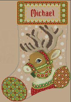 Reindeer Stocking Cross Stitch Christmas