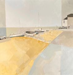 Angela Wilson Whitstable Dawn (Hungerford Gallery) Signed Acrylic on canvas 35 x 35 in 90 x 90 cms (Framed size: 109 x 109 cms) Landscape Art, Dawn, Cricket, Fine Art, Abstract, Mixed Media, Gallery, Outdoor Decor, Artist