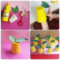 Learning fruits and vegetables Food Crafts, Easy Crafts, Diy And Crafts, Crafts For Kids, Arts And Crafts, Paper Crafts, Bible School Crafts, Preschool Activities, Art Activities For Kids