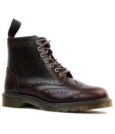 DR MARTENS Affleck Retro Mod Brogue Boots in Dark Brown