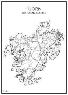 Tjörn. Sverige. Map. City print. Print. Affisch. Tavla. Tryck. Stadskarta.