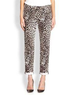 rag & bone/JEAN Leopard-Print Slim Boyfriend Jeans