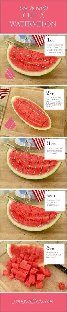 How to Perfectly Cut a Watermelon | Community Post: 34 Creative Kitchen Hacks That Every Cook Should Know