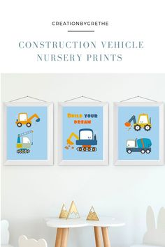 Are you looking for an easy, affordable and convenient way to decorate your child's room then you're in the right place. These baby boy nursery construction vehicle prints are the perfect pieces that will add the finishing touch to your child's room or nursery. Car Nursery, Dinosaur Nursery, Child's Room, Boy Room, Playroom Printables, Playroom Wall Decor, Scandinavian Nursery, Alphabet Print, Baby Boy Nurseries