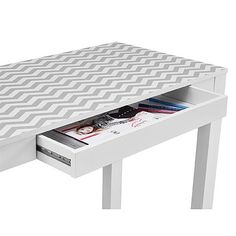 Dorel Home Furnishings White with Chevron Pattern Top Parsons Desk with Drawer 3