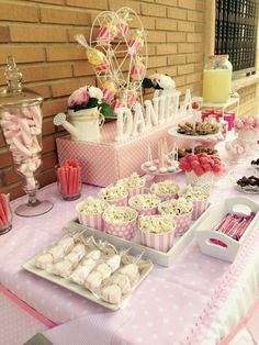Pin on mia's baby shower 18th Birthday Party, Baby Birthday, Candy Table, Dessert Table, Candy Buffet Tables, Baby Shower Candy, Party Treats, Birthday Decorations, First Birthdays
