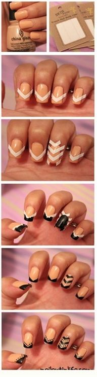 If you like Spectator Shoes, you'll love this tutorial for fingernails to match!  Love Chevron inspired nails. This is too cute.