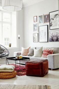 pour le style ethnique : tapis et pouf en cuir