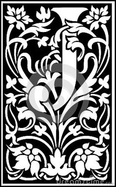 Flowers Decorative Letter J Balck And White Stock Vector - Illustration of green, creative: 38518447 Caligraphy Alphabet, Woodcut Art, Paper Bead Jewelry, Illuminated Letters, Arts And Crafts Movement, Letter Art, Gravure, Monogram Letters, Coloring Pages