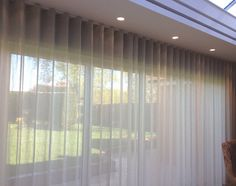Our work – Waved headed voile curtains Curtains For Bifold Doors, Big Window Curtains, Wave Curtains, Types Of Curtains, Voile Curtains, Modern Curtains, Window Hanging, Curtains With Blinds, Outdoor Lounge