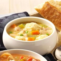 Grandma's Chicken 'n' Dumpling Soup Recipe -I've enjoyed making this rich chicken and dumplings recipe for over 40 years. The homemade dumplings really make a difference. Every time I serve it, I remember my grandma, who was very special to me and was known as an outstanding cook. —Paulette Balda, Prophetstown, Illinois