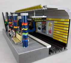 A Subway Station in Stockholm, Sweden Lego Train Station, Lego Train Tracks, Lego City Fire Truck, Lego City Train, Lego Track, Stockholm Metro, Lego Modular, Lego Room, Lego Architecture