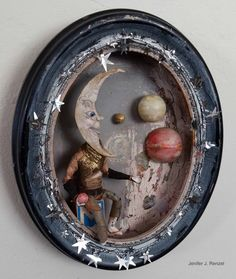 The Moon, small by on DeviantArt - Assemblage Art Wood Crafts, Diy And Crafts, Arts And Crafts, Paper Crafts, Found Object Art, Found Art, Altered Tins, Altered Art, Shadow Box Art
