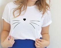 Cat Face T Shirt- Cat Shirt- Unisex Cat Shirt - Kitty Shirt - Tumblr Shirt - Kitten Shirt - Shirts For Girls - Teen Fashion,Shirts For Teens