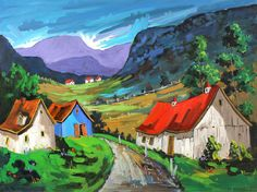 """The Red Roof Barn, Painter - Claude Simard - Born under the sign of Capricorn in 1932, Claude Simard, a French Canadian, was a street painter: all of his paintings were created outside, """"on the spot"""". He loved to paint the Quebec countryside, backyards, alleys, street corners and typical villages around the country. His work remains distinctively Canadian.Claude participated in many exhibits throughtout the province of Quebec. He painted for pleasure and had been painting for the last ..."""