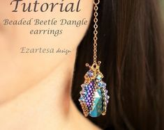 Etsy :: Your place to buy and sell all things handmade Wrap Bracelet Tutorial, Earring Tutorial, Seed Bead Patterns, Beading Patterns, Loom Patterns, Bead Earrings, Etsy Earrings, Tassel Earrings, Dragonfly Pendant
