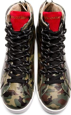 Dolce & Gabbana: Green Camo Leather High-Top Sneakers
