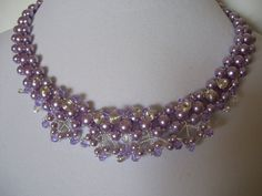 Free Form Lavender Pearl Necklace Choker Bib Collar with Decorative Swarovski Center and Silver Bead Accents