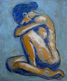 "Blue Soul - female Nude Original unique contemporary acrylics painting on canvas, painted edges and ready to hang. A figurative expressionist painting, simplified style, a modern representation of a female nude sitting down in a distressed mood. The work was produced using blue and ochre yellow acrylic paint and the palette knife creating heavy texture. Size 50cm x 60cmx 1.5cm(20""x24""x1""). Certificate of Authenticity. FREE next day delivery in U.K."