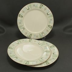 3 Mid Century Modern CATHAY Taylor Smith Taylor Dinner Plates    Made in the 1960's by Taylor Smith and Taylor these six bread and butter plates are