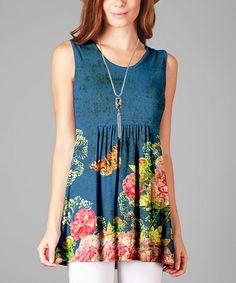 Blue & Pink Floral Sleeveless Tunic