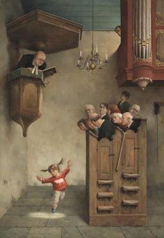Giclée Marius van Dokkum - Dansje in de kerk - Zus Enzo Giclees