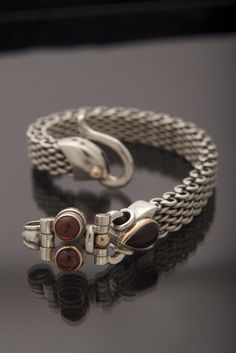 Bracelet Sterling Silver braided for Man and Woman Bracelet Sterling Silver with 9k Gold and Garnet Gemstone,cremerdani,habd made,israel