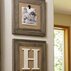 Hanging wall art DIY with frames and burlap