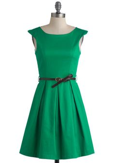 Title: A Grand Weekday Out Dress  I love everything about this! the color, the neckline, the belt, the pleats, EVERYTHING!