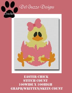 Easter Chick Crochet Graph Graphghan by DelGuzzoDesignStudio