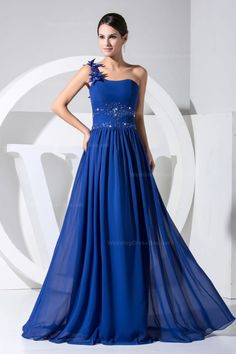 One shoulder with hand made flower decoration floor-length chiffon dress