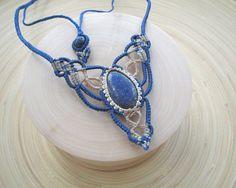 Lapis lazuli macrame necklace boho necklace gypsy tribal
