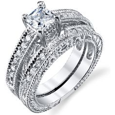 Oliveti Sterling Silver Vintage Princess-cut Cubic Zirconia Bridal... ($36) ❤ liked on Polyvore featuring jewelry, rings, white, cz engagement rings, wide band rings, cubic zirconia rings, round cut engagement rings and wedding rings