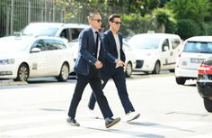 men wearing trainers with a suit street style