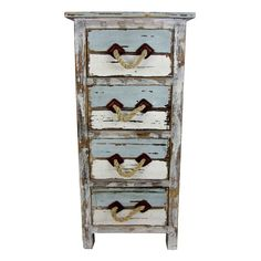 Distressed Blue and White 4-Drawer Cabinet
