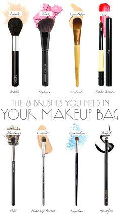 Pinceaux make-up indispensables, 8 basiques