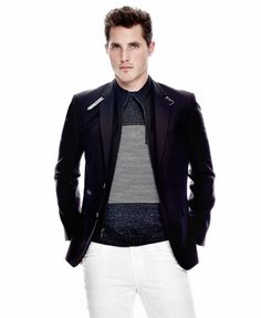 A modern-style Kenneth Cole blazer takes his weekend style to the next level