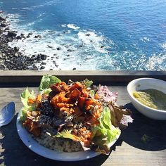 Nourishing lunch with a view after soaking in the hot springs  brown rice, sweet potatoes and mixed greens with split pea soup