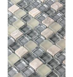 "Sample- Silver Fog Blend Squares 1/2"" X 1/2"" Glass Tiles 1/4 Sheet Sample $2.49"